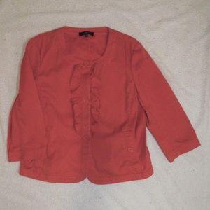 Talbots Cropped Jacket with Ruffle